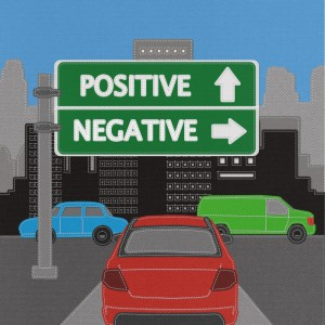 Positive and negative highway sign concept with stitch style on